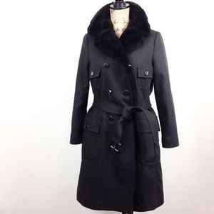 Marc by Marc Jacobs Wool Faux Fur Military Trench